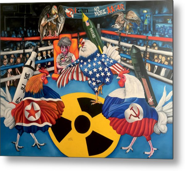 The Chickens Fight Metal Print