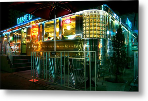 The Diner By Night Metal Print by Dieter  Lesche