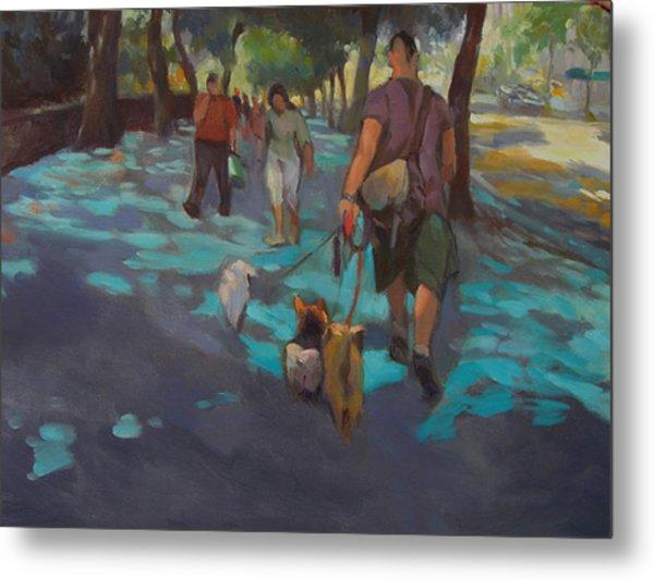 The Dog Walker Metal Print by Merle Keller