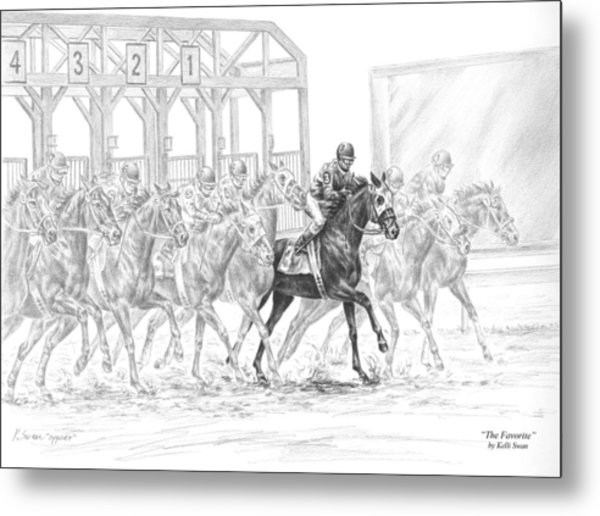 The Favorite - Horse Racing Art Print Metal Print