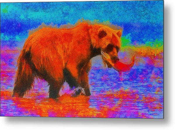 The Fishing Bear - Pa Metal Print