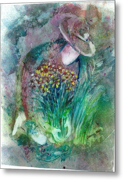 Metal Print featuring the painting The Gardener by Deborah Nell