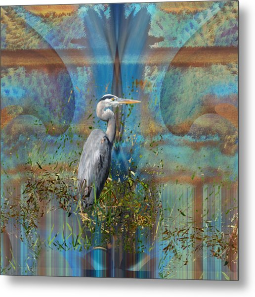 The Great Blue Heron In Abstract Metal Print