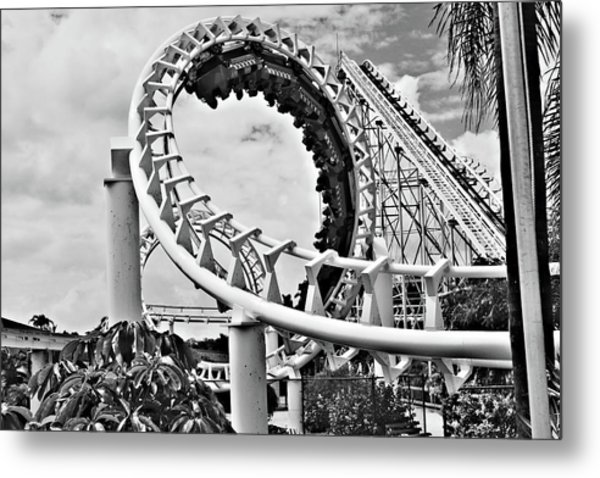 The Loop Black And White Metal Print