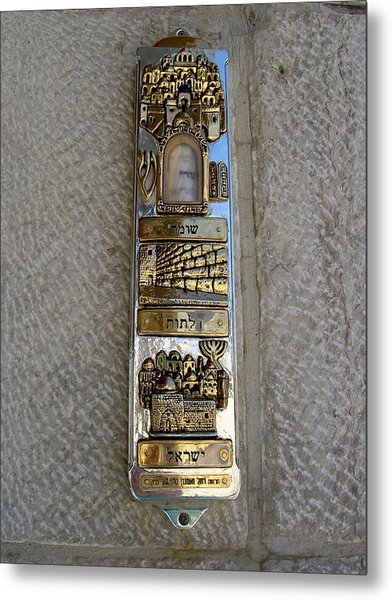 The Mezuzah At The Entry To The Kotel Plaza Metal Print by Susan Heller