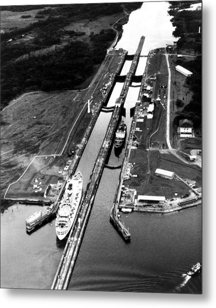 The Panama Canal, A Cruise Ship Moves Metal Print