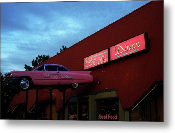 The Pink Cadillac Diner Metal Print
