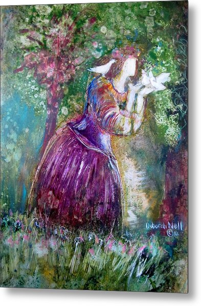 Metal Print featuring the painting The Princess And The Birds by Deborah Nell