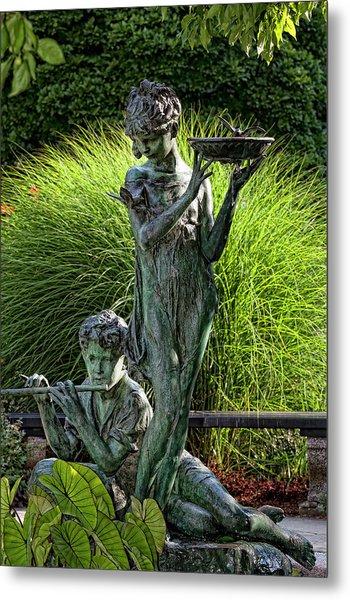 The Secret Garden Memorial Statue And Bird Bath Metal Print