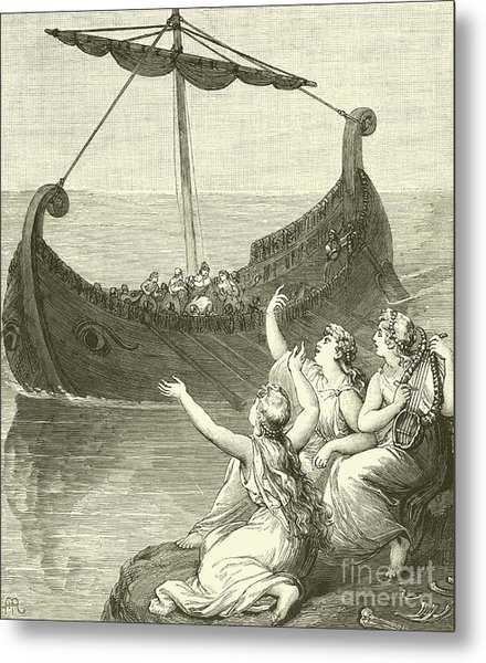 The Sirens Imploring Ulysses To Stay Metal Print