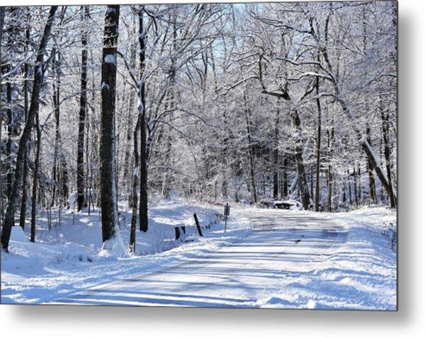 The Snowy Road 1 Metal Print