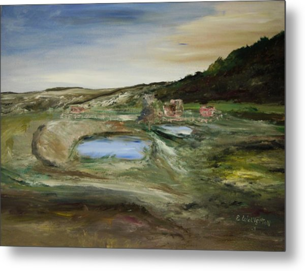 The Water Hole Ranch Metal Print by Edward Wolverton