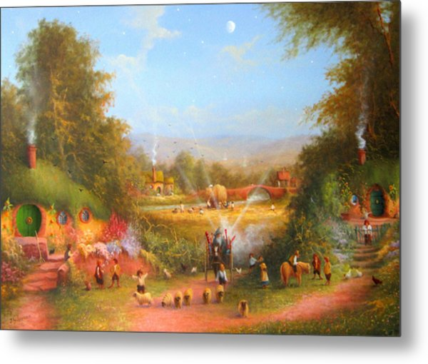 Fireworks In The Shire. Metal Print