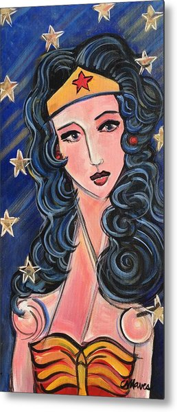 Metal Print featuring the painting There's A Wonder Woman In Us All by Laurie Maves ART