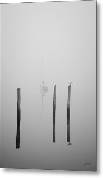 Three Pilings And Sailboat Metal Print