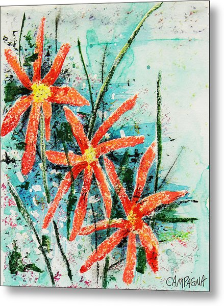 Three Red Flowers Metal Print