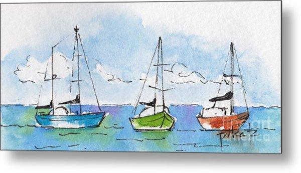 Three Sailboats Near Tahiti Metal Print