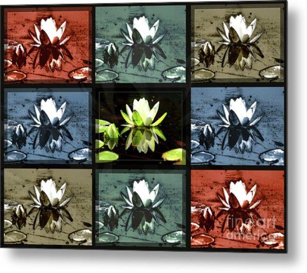 Tiled Water Lillies Metal Print