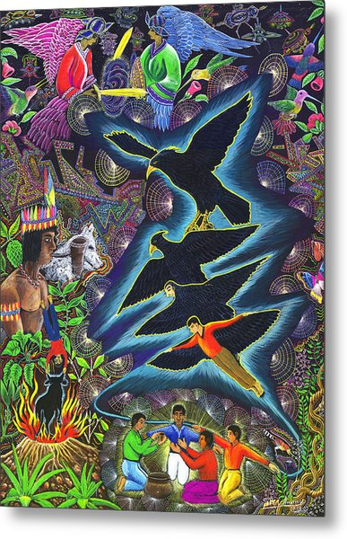 Metal Print featuring the painting Transformacion Del Chaman En Aguila  by Pablo Amaringo