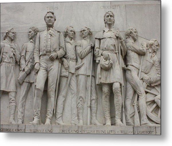 Travis And Crockett On Alamo Monument Metal Print