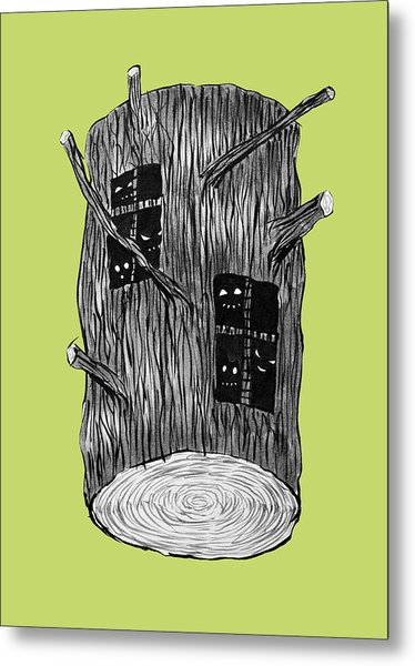 Tree Log With Mysterious Forest Creatures Metal Print
