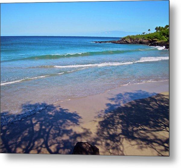 Tree Shadows At Hapuna Beach Metal Print