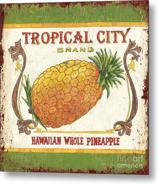 Tropical City Pineapple Metal Print