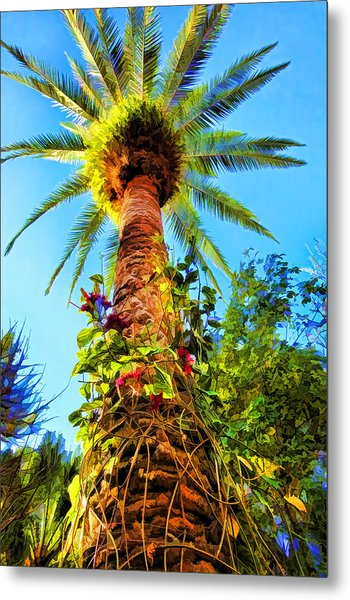 Tropical Palm Tree Painting Metal Print