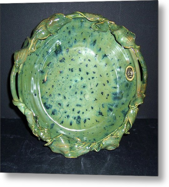 Trout Pattern Glaze Bowl With Leaves Metal Print