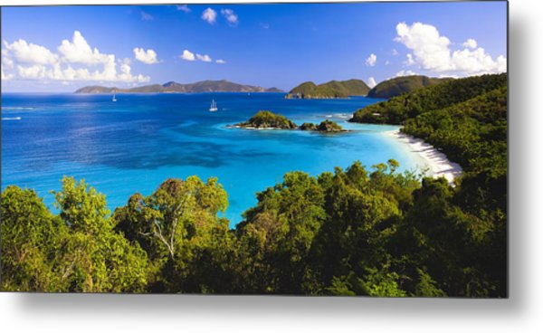 Trunk Bay Panorama Metal Print by George Oze