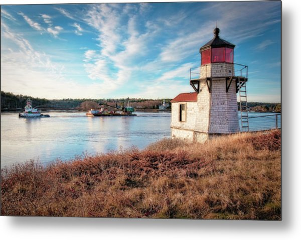 Tugboat, Squirrel Point Lighthouse Metal Print