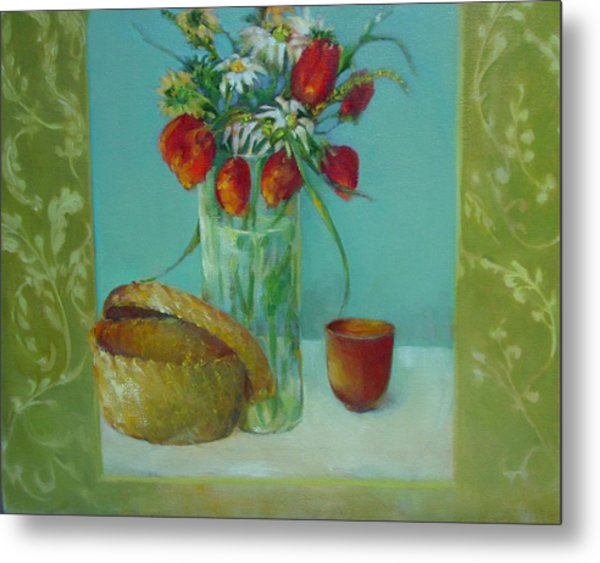 Tulips And Daisies               Copyrighted Metal Print by Kathleen Hoekstra