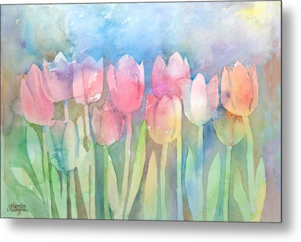 Tulips In A Row Metal Print