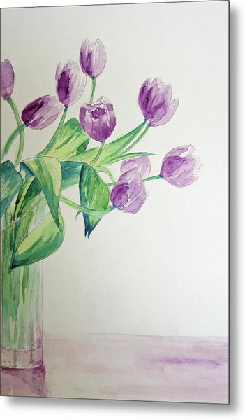 Tulips In Purple Metal Print by Julie Lueders