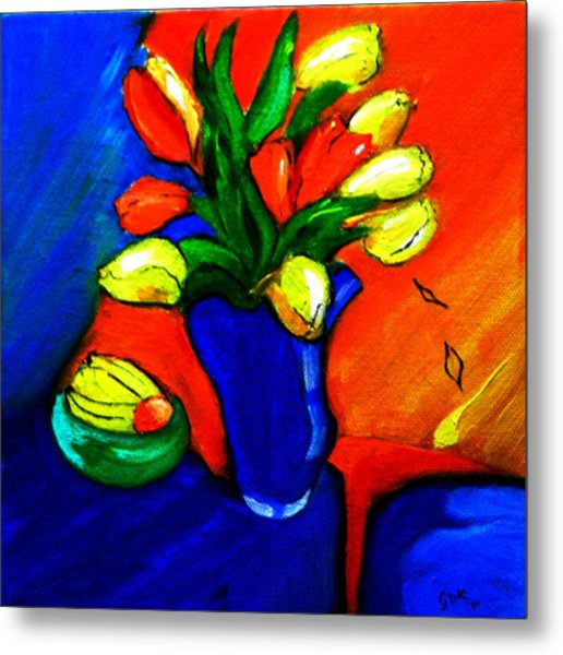 Tulips On My Table Metal Print