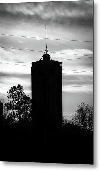 Tulsa Oklahoma University Tower Silhouette - Black And White Metal Print