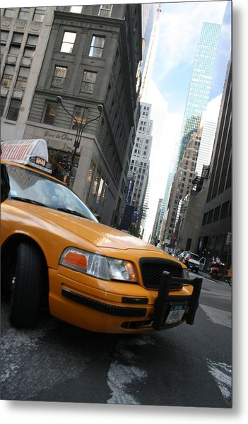 Turning Taxi Metal Print by Jeff Porter