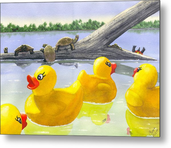 Turtle Log Metal Print
