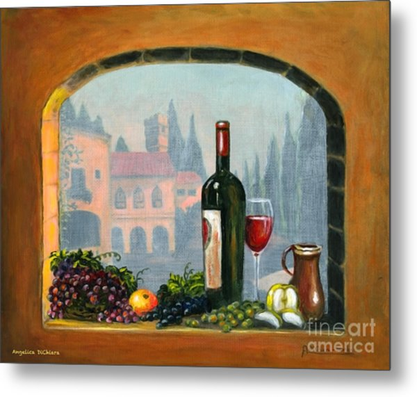 Tuscan Arch Wine Grape Feast Metal Print