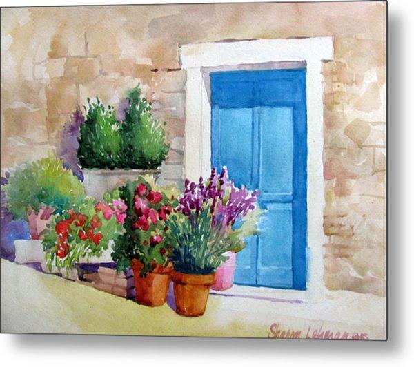 Tuscan Doorway Metal Print by Sharon Lehman & Tuscan Doorway Painting by Sharon Lehman