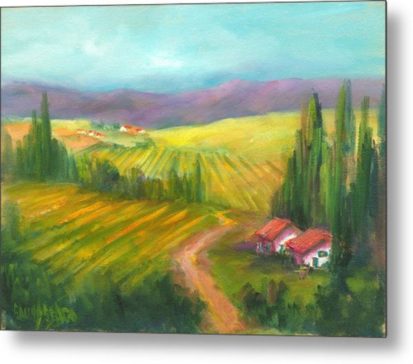 Tuscan Fields Metal Print by Sally Seago