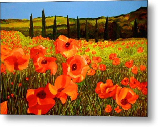 Tuscan Poppies Metal Print