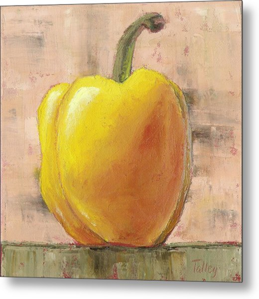 Tuscan Yellow Pepper Metal Print by Pam Talley