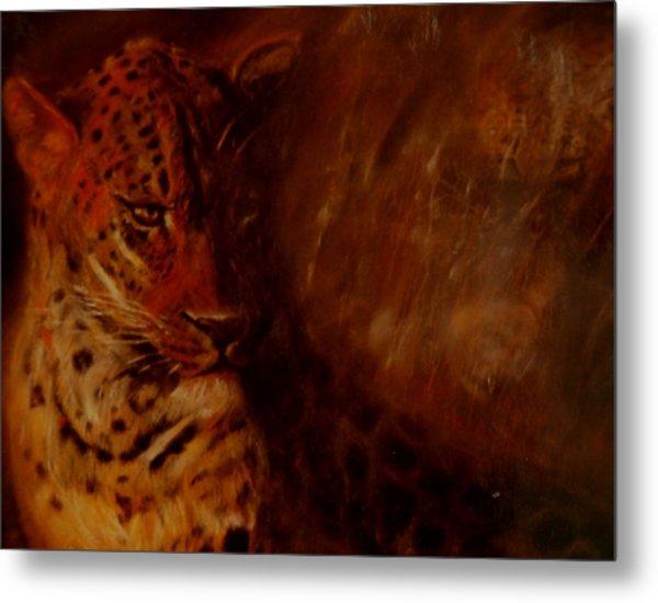 Twilight Leopard Metal Print by Arlene Rabinowitz