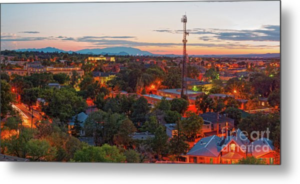 Twilight Panorama Of Downtown Santa Fe From Cross Of The Martyrs - New Mexico  Metal Print