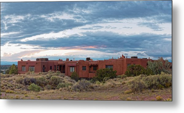 Twilight Panorama Of Pueblo Revival Architecture At Cross Of The Martyrs - Santa Fe - New Mexico Metal Print