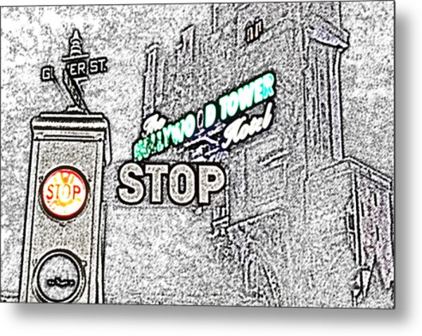 Twilight Zone Tower Of Terror Stop Sign Hollywood Studios Walt Disney World Prints Colored Pencil Metal Print