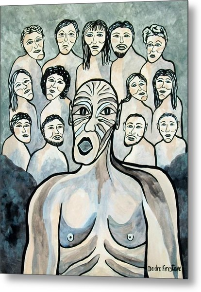 Twisted Faces Of The Torn And Demented Metal Print by Deidre Firestone
