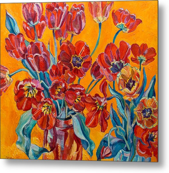 Two Bunches Of Red Tulips Metal Print by Vitali Komarov