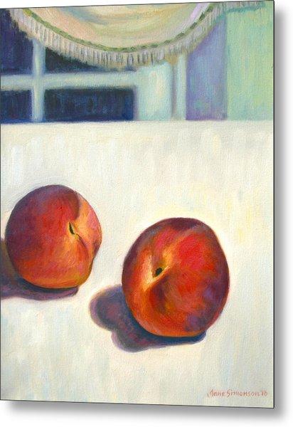 Two Peaches At Night Metal Print by Jane  Simonson